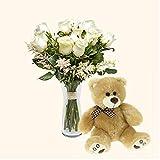 Pack Ramo de 12 rosas blancas + Osito de peluche marrón - Florencia - Ramo de flores naturales y Osito a domicilio - Envío a domicilio 24h GRATIS - Tarjeta dedicatoria de regalo