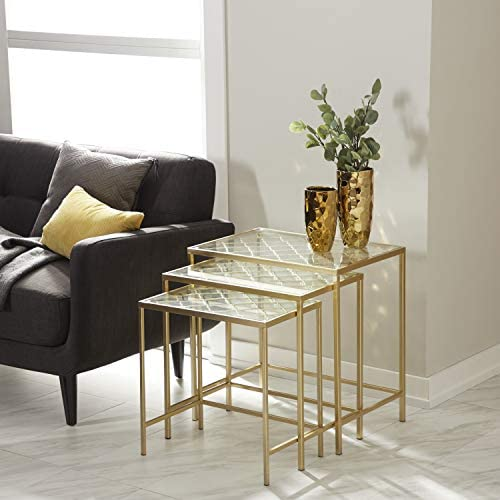 Best Deco 79 Metallic Gold Metal & Glass Nesting Accent Tables with Quatrefoil Grid Pattern   Set of 3, 2