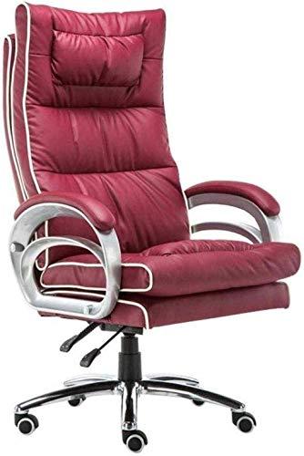 BeingHD Qualitätsbürostuhl, Bürostuhl mit Armlehne Schwenkstuhl Bürostuhl High Back Computerstuhl Ergonomische Haare, einstellbare Höhe Executive Task Chair (Color : Red)