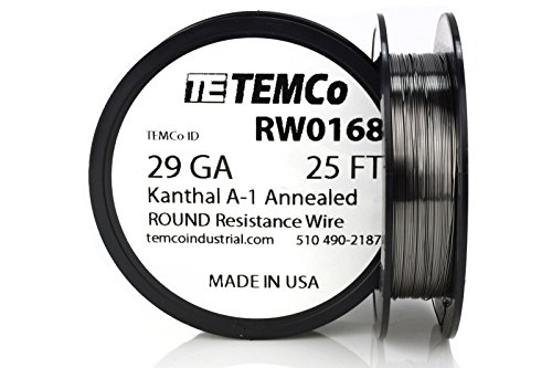 TEMCo Kanthal A1 wire 29 Gauge 25 Ft Resistance AWG A-1 ga