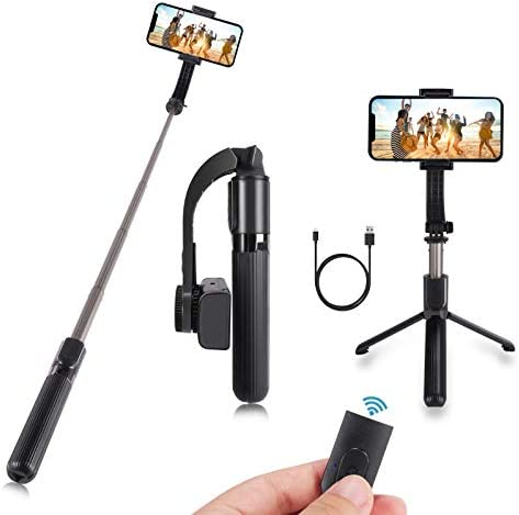 Gimbal Selfie Stick with Tripod Anti Shake Extendable Bluetooth Phone Tripod with Stabilizer product image