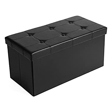 SONGMICS 30  L Faux Leather Folding Storage Ottoman Bench, Storage Chest/Footrest/Coffee Table/Padded Seat, Black ULSF105