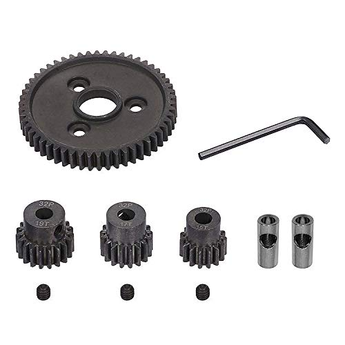 Globact 54T 0.8 32 Pitch Metal Steel 3956 Spur Gear with 15T/17T/19T Pinions Gear Sets for Traxxas Slash 4x4 4WD/2WD VXL Rally VXL Stampede 4x4 Traxxas 1/10 Summit Traxxas 1/10 E-REVO Parts