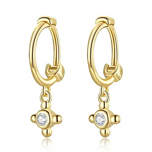 HMMJ Pendientes del aro de Las Mujeres, joyería de los Piercings de Las Orejeras Cruzadas chapadas en Oro Real de la Plata esterlina 925