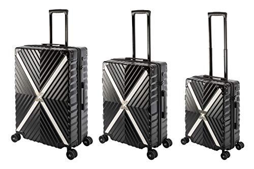 Travelhouse Miami X Zip Koffer Schwarz S-55cm & M-65cm & L-75cm robuste Polycarbonat Hartschale Reise Trolley Koffer Set