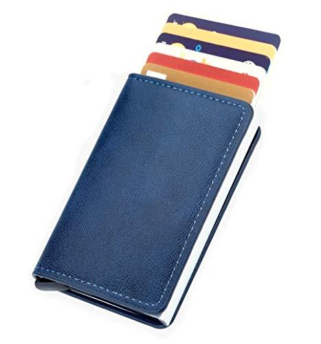 LOTHUS Porta Carte Di Credito Slim RFID 2a Generazione Portafoglio Uomo Donna Sottile Schermato Portamonete Tascabile Porta Tessere Fibra Di Carbonio Alta Qualità (Slim Pelle Blu)