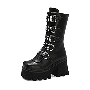 Women s Studded Chunky High Heel Booties Mid Calf Round Toe Combat Boots with Buckle and Rivet Thick Platform Black Goth Lady Boots