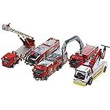 hsjWYQ-車のモデルエンジニアリング車の組み合わせのおもちゃはしごアセンド消防車のおもちゃセット5救助車車のおもちゃモデル