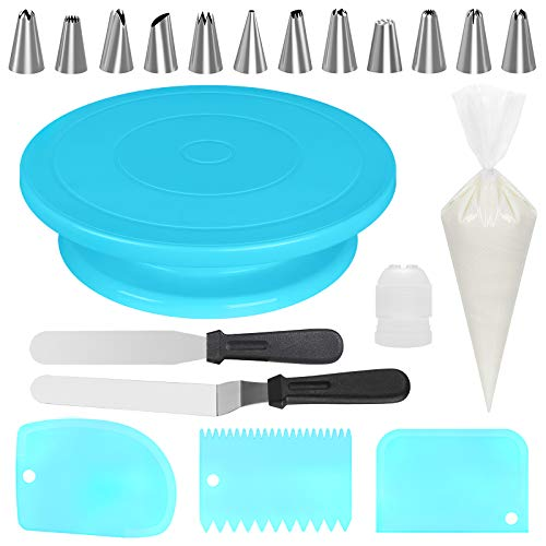 Kootek 69 Pcs Cake Decorating Tools Supplies with Cake Turntable, 50 Disposable Pastry Bags, 12 Piping Tips, 2 Icing Spatula, 3 Icing Smoother and 1 Coupler, Blue