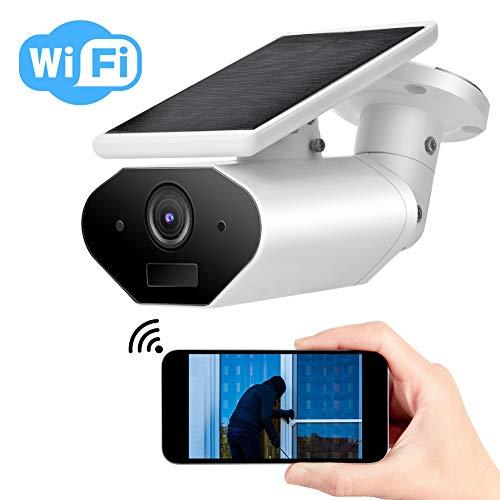 WiFi 1080P Cámara con Placa Solar, IP Cámara de Seguridad Inalámbrica para Exteriores con Audio de 2 Vías, IR Visión Nocturna, PIR Detección de Movimiento, IP65 Prueba de Agua