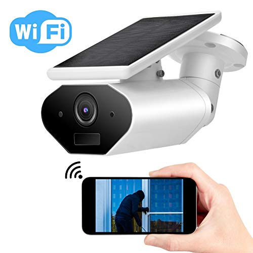 1080P WIFI Camera, Wireless Security Outdoor Solar Powered IP camera with 2-way Audio, IR-Cut Night Vision, PIR Motion Detection, IP65 Waterproof, Support Amazon Alexa/Google Home
