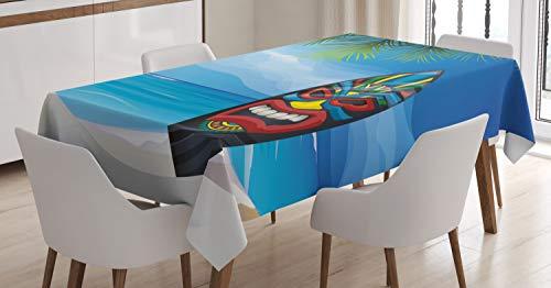 ABAKUHAUS Tiki Bar Mantele, Tiki Tabla de Surf, Estampado con la Última Tecnología Lavable Colores Firmes, 140 x 200 cm, Multicolor