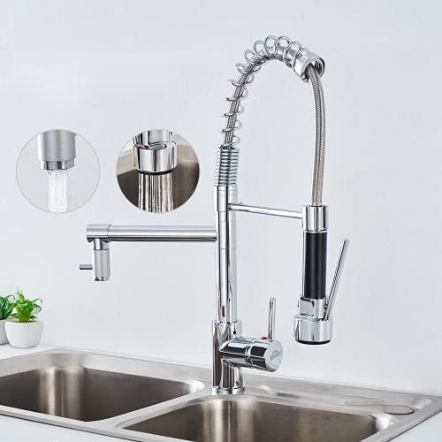 Auralum Grifo de cocina extensible giratorio 360°, dos boquillas a elegir frío/caliente, grifo de cocina disponible en latón cromado