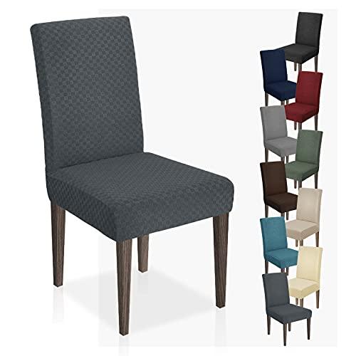 MAXIJIN Neueste Jacquard Esszimmer Stuhlbezug Stretch Dining Parsons Stuhl Schonbezug Abnehmbare Stuhl Möbel Schutzhüllen für Esszimmer, Hotel, Küche, Zeremonie (Dunkelgrau, 2)