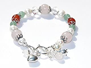 Juno Fertility and Pregnancy Bracelet in Sterling Silver, with Natural Gemstones Rose Quartz, Moonstone, Green Aventurine, Carnelian, Freshwater Pearls, Crystal Healing Jewelry