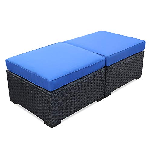 Patio PE Rattan Wicker Ottoman Seat - Outdoor Footrest with Water Resistant Blue Cushions-Set of 2