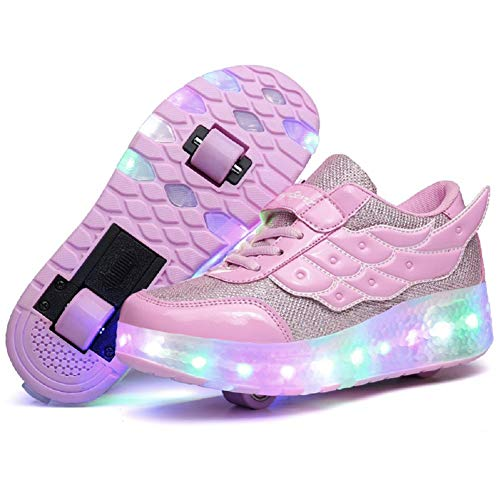 Nsasy Kids Roller Shoes Boy Girl Sneakers with Wheels Become Sport Sneaker with Led for Children Gift
