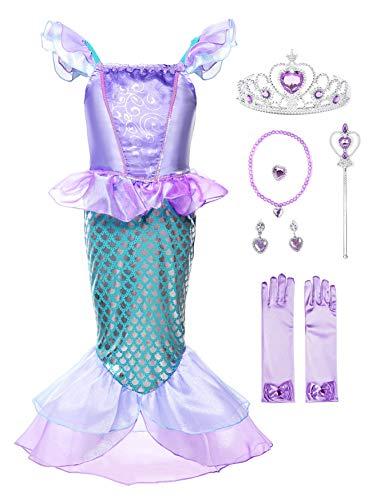 JerrisApparel Mädchen Prinzessin Meerjungfrau Kostüm Halloween Party Kleid (Lila mit Zubehör, 5 Jahre)