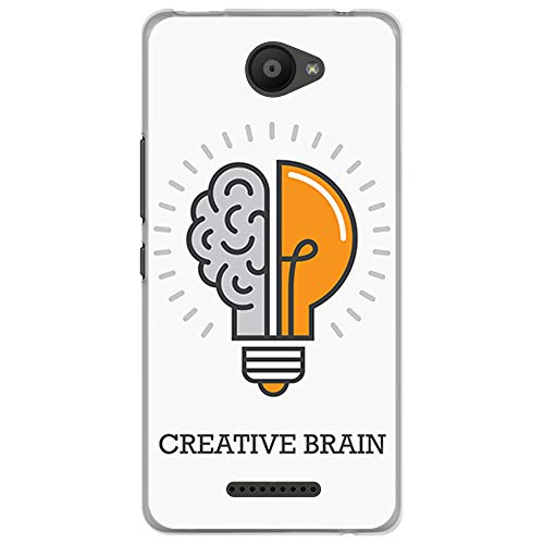 BJJ SHOP Funda Transparente para [ Bq Aquaris U Lite ], Carcasa de Silicona Flexible TPU, diseño: Idea, Bombilla, Cerebro Entrenamiento Mental, Creative Brain