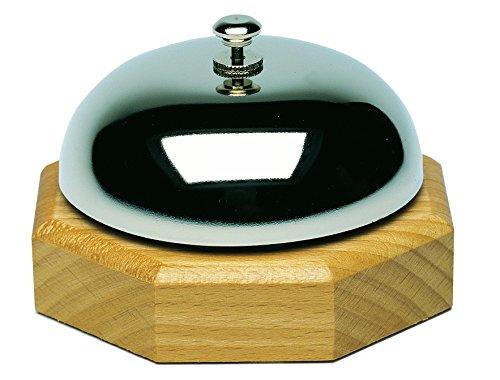 Westmark Tisch- und Kellnerglocke, Reiner Klang, Verchromt, 9,1 x 9,1 x 5,8 cm, Edelstahl/Holz, Silber/Hellbraun, 63202220