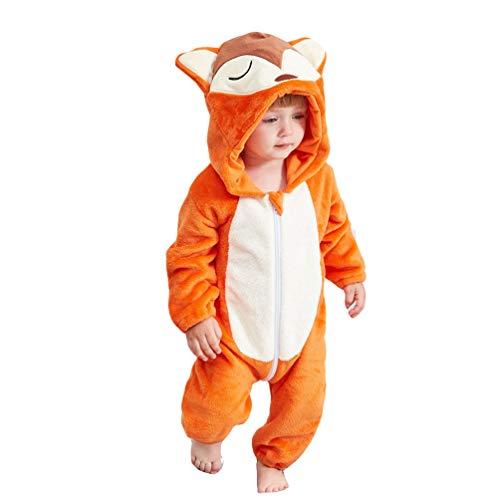 YOUJIAA Baby Unisex Tierspielanzug Mädchen Jungen Langarm Flanell-Overall Schlafanzug mit Kapuze (Orange Fuchs, 100)