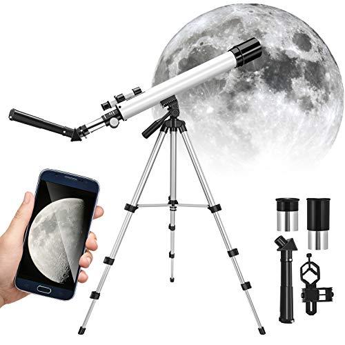 KKTECT Telescopio para niños 24x - 100x Telescopio Refractor para Principiantes con trípode Ajustable, Starfinder y Soporte para teléfono, para niños Observación de Aves Observación de Estrellas