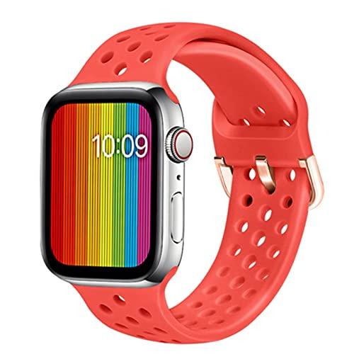 Cinturino in silicone per orologio Apple 6 5 38mm 40mm 42mm 44mm cinturino sportivo cinturino traspirante per serie iwatch 6 SE 4 3 2 38mm cinturino-rosso 2, per 38mm