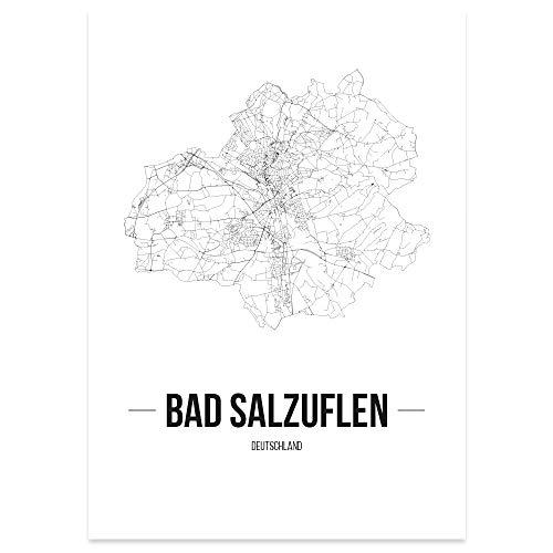 JUNIWORDS Stadtposter, Bad Salzuflen, Wähle eine Größe, 21 x 30 cm, Poster, Schrift B, Weiß