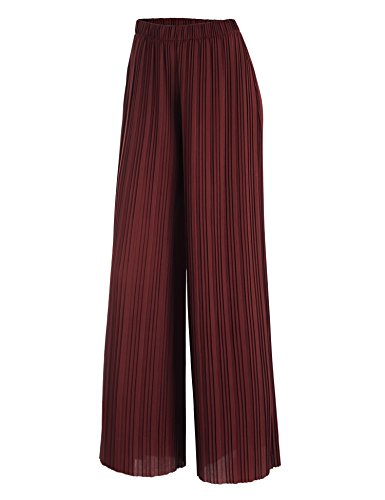 MBJ WB1794 Womens Pleated Wide Leg Pants with Elastic Waist Band-Made in USA L Wine
