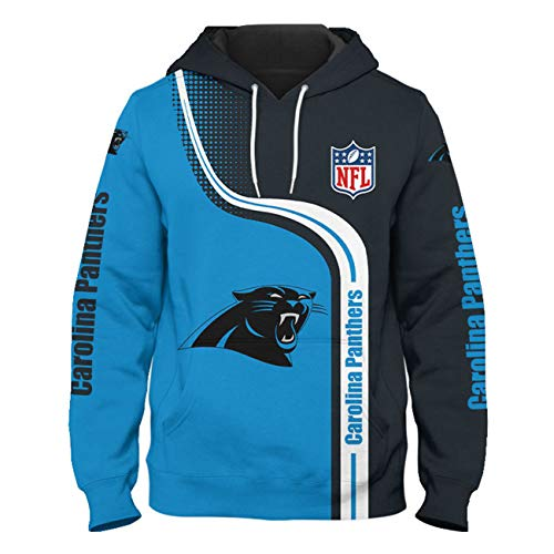 SZRXKJ Herren Kapuze 3D Digitaldruck F-Serie Chicago Bears Farbe Patchwork Carolina Panthers Pullover Hoodies Sweatshirts(L,Blue)