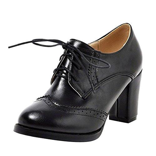 Dear Time Block Heels Wingtip Oxfords Vintage PU Leather Brogue Shoes Woman US 9 Black