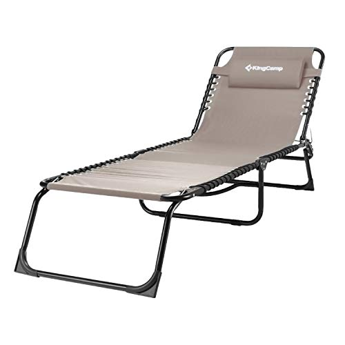 KingCamp 3-Fold Outdoor Folding Chaise Lounge Chair for Beach, Sunbathing, Patio, Pool, Lawn, Deck, Portable Lightweight Heavy-Duty Adjustable Camping Reclining Cot Bed with Pillow, Gray, Red, Blue