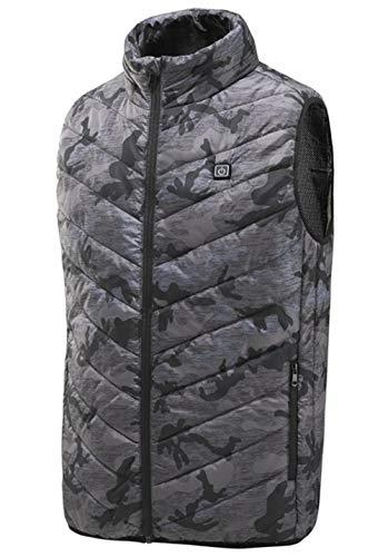 Flexibel elektrisch herenvest, herfst en winter, warme wandelkleding, outdoor, met USB-infraroodverwarming XXXL Asia Size camouflage