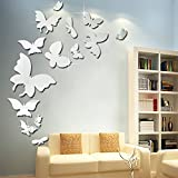 Mariposa 3D Acrílico Espejo Pegatinas de pared Dormitorio Sala de estar Fondo Pared Impermeable