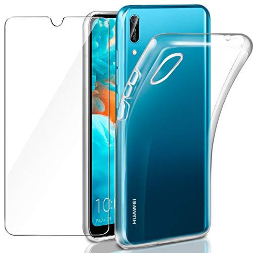 Leathlux Cover Huawei Y6 2019 Custodia + Pellicola Vetro Temperato, Morbido Trasparente Silicone Custodie Protettivo TPU Gel Sottile Cover per Huawei Y6 PRO 2019 / Y6 2019 6.09'