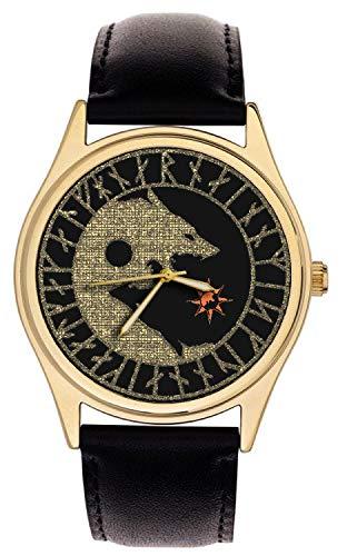 Celtic Wolf Art YIN YANG Symbolic Dark Side Large 40 mm Solid Brass Wrist Watch