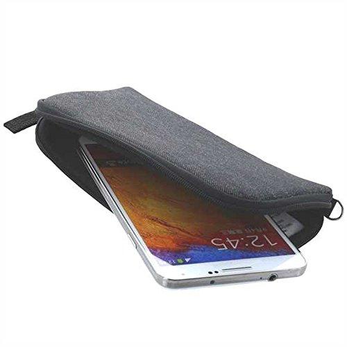 Handytasche für Doogee Y6 4G Softcase Schutzhülle Tasche Schutzcase mit Trageschlaufe & Reißverschluss grau
