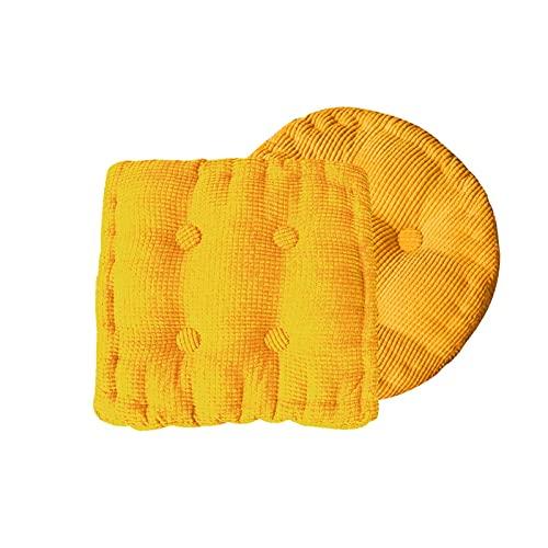 ZLJ Almohadillas para Asiento cojín para Silla de Oficina cómodo Suave Duradero Resistente cojín para balcón 2 Piezas (Color: Amarillo tamaño: 2)
