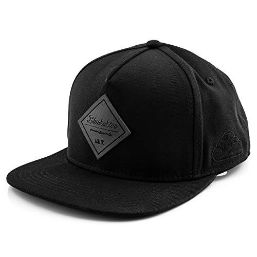 Blackskies Port Arthur Snapback Cap | Damen Herren Baseball Mütze Kappe Kunst-Wildleder Schirm - Schwarz-Schwarz