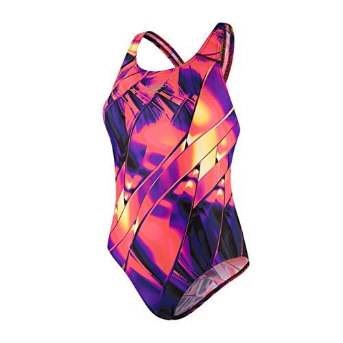Speedo Fractal Glaze Placement Powerback Costume da Bagno, Donna, Multicolore (Fractal Glaze/Lava Red/Ro), 28 (IT 38)