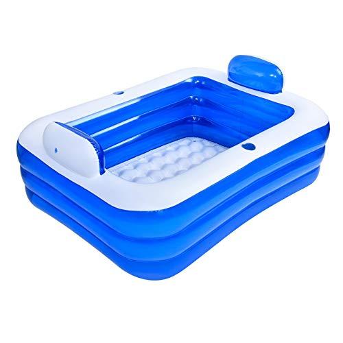 Aufblasbare Badewanne wird die Wanne gefaltet,3 Schichten verdicktes PVC-Schwimmbad,Badewanne Doppelte Entspannung SPA Pool Drei Schichten Große Größe Blau