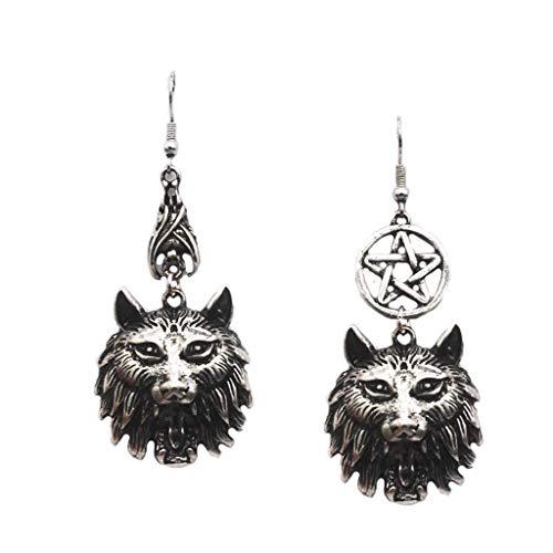 Pendientes colgantes de colmillos de vampiro de hombre lobo gótico vintage, joyería asimétrica, negro + plata antigua, aleación de metal