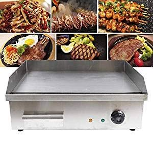 TFCFL Electric Tabletop Griddle Grill 110V Restaurant Countertop Flat Grill Stainless Steel Adjustable Temperture Control for Commercial Outdoor Cooking BBQ 110V 3000W / 110V 4400W (110V 3000W)
