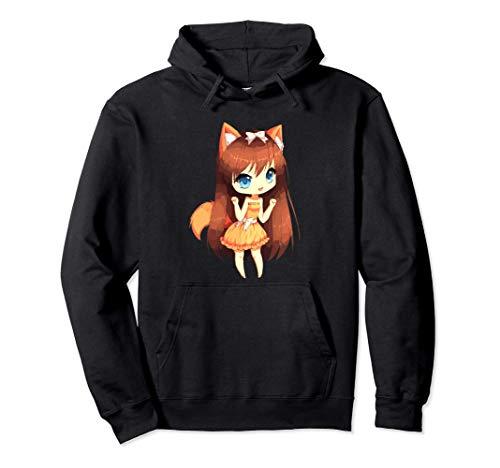 Chibi Style Kawaii Japanese Anime Girl With Fox Ears & Tails Sudadera con Capucha