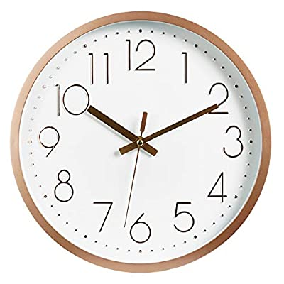 JUSTUP 12in Non-Ticking Wall Clock, Silent Battery Operated Wall Clock with ABS Frame HD Glass Cover for Kids Living Room Bedroom Kitchen School Office Decor