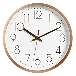 JUSTUP 12in Non-Ticking Wall Clock, Silent Battery Operated Wall Clock with ABS Frame HD Glass Cover for Kids Living Room Bedroom Kitchen School Office Decor (Rose Gold)