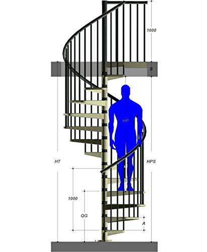 Mister Step Exterior Zink scala a chiocciola da esterno, 13 gradini, altezza totale 273-299 cm. (120 cm.)
