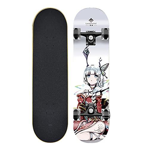 Skateboard Profesional Completo, 9 Capas Deck Retro Cruiser Skateboards para Principiantes Adultos 31''x 8 ''