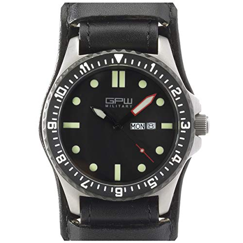 German Military Titanium Watch. GPW Day Date. Sapphire Crystal. Black German Bund Leatherstrap 200M...