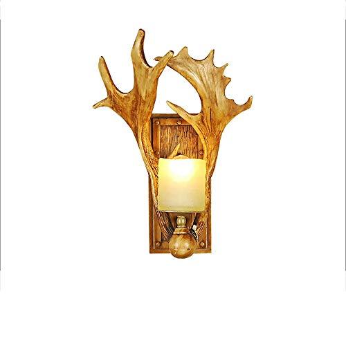 Raxinbang Luces de Pared Retro Industrial Viento Asta Lámpara Lámpara De Pared De La Personalidad Creativa Sala De Estar Europea Pasillo Antiguo Cabeza De Ciervo Decoración Lámparas